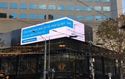 """Mortgage group's """"mortgage hell"""" billboard above CBA"""