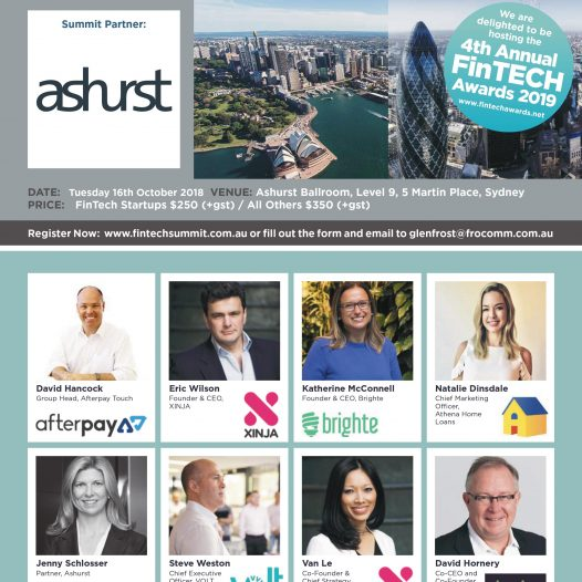 5th Annual FinTech Summit 2018 – 16 October, 2018 – Sydney